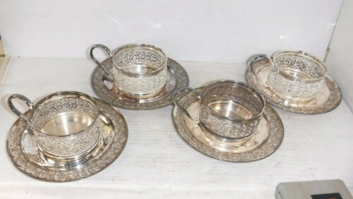 Vintage MCM Mid Century Silverplated Tea Glass Holder and Saucer Set of 4
