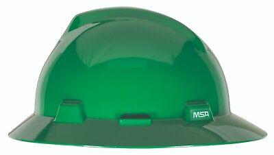 Msa V-gard Full Brim Hard Hat With Fas-trac Ratchet Suspension Green
