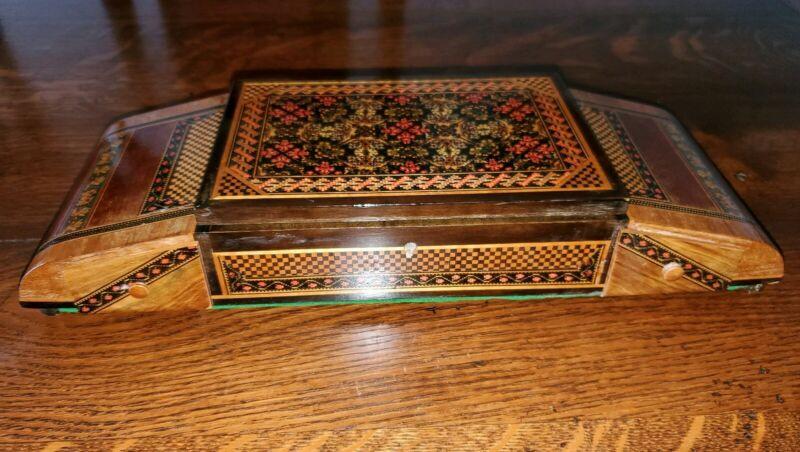"Vintage TUNBRIDGE WARE JEWELRY BOX RARE WALNUT OTHER WOODS Mosaic 16"" x 5.5 """