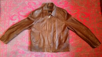 Men's Vintage Retro Brown Leather Jacket Coat