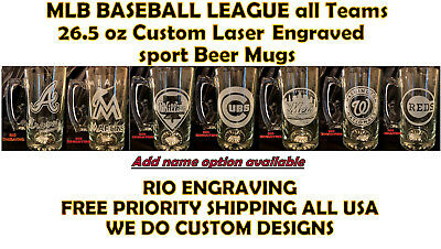 MLB Baseball League Teams Beer Mug 26.5 oz Personalized Laser Engraved FREE SHIP