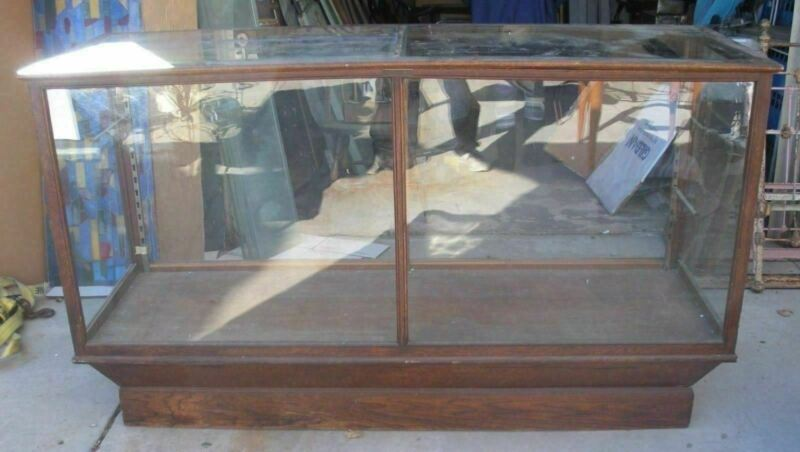 Antique Oak Glass General Store Display Showcase NY Made A.N Russell & Sons Co.