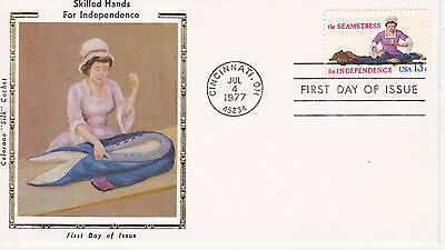 COLORANO SILK CACHET FIRST DAY COVER FDC - 1977 SKILLED HANDS THE SEAMSTRESS