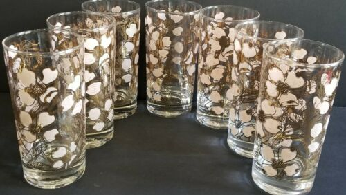 Fred Press Vintage Mid Century White Gold Dogwood Flower Set 7 Tumbler Glasses