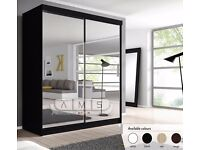 "❤Amazing Finish❤ Brand New German Full Mirror 2 Door Sliding Wardrobe w/ Shelves, Hanging ""4 colors"""