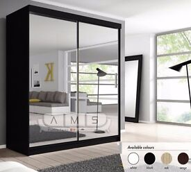 ❤Superb Finish❤Contemporary Design❤New Berlin Full Mirror 2Door Sliding Wardrobe w/ Shelves, Hanging