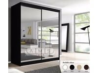 💗🔥Very Few Left🔥Buy Now💥 Brand New Full Mirror 2 Door Berlin Sliding Wardrobe w Shelves, Hanging