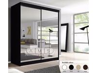 """==LIMITED EDITION== """"30% OFF"""" BERLIN FULL MIRROR SLIDING DOOR WARDROBE IN WHITE AND BLACK COLOUR"""