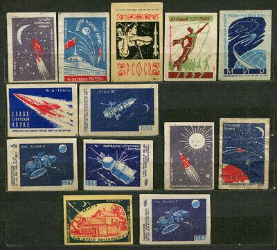 1950'-1960', SPACE PROPAGANDA, ROCKETS, SPUTNIKS, 13 RUSSIAN MATCHBOX LABELS