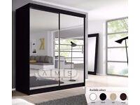 BRAND NEW ROMA 2 DOOR MIRRORED SLIDING WARDROBE WITH SHELVES HANGING RAIL IN BLACK OAK WALNUT WHITE