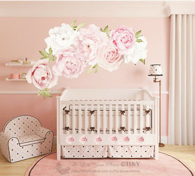Pink Peony Rose Flower Blossom Wall Stickers Kids Art Baby Nursery Decor Decal