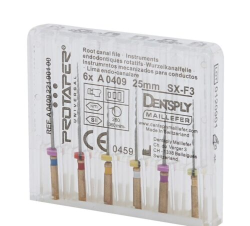 Dentsply Rotary ProTaper Universal Engine NiTi Files 25 mm SX-F3 Endodontic