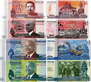 CAMBOGIA - Cambodia Lotto 4 banconote 100/500/1000/2000 riels FDS - UNC - Italia - Soddisfatti o rimborsati - Italia