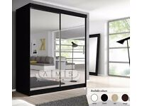 **CHRISTMAS SALE** **4 SIZES AND COLORS** BLACK OR WHITE 2 DOOR FULLY MIRRORED SLIDING DOOR WARDROBE