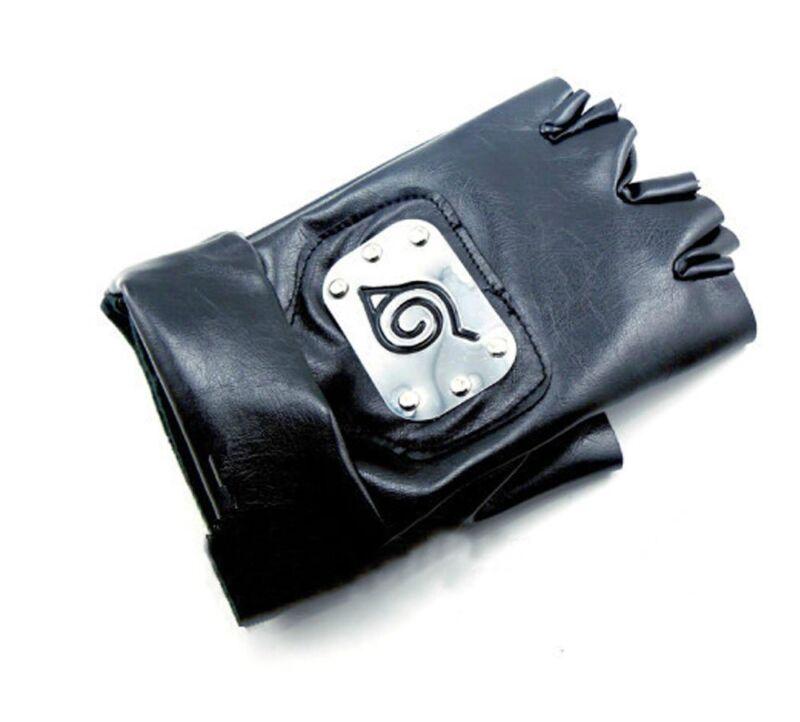 Naruto Anime Cosplay Kakashi Leaf Village Ninja PU Leather Gloves (Black)
