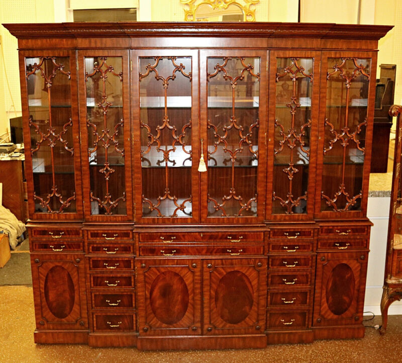 Incredible Maitland Smith 8 Foot Carved Mahogany Bookcase Breakfront