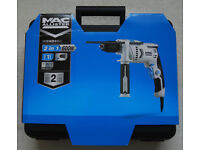 600W Corded Hammer Drill with carry case and depth stop Keyless Chuck