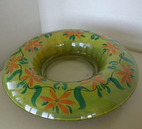 VINTAGE ROLLED EDGE GLASS CENTER/ CANDLE BOWL W/ REVERSE PAINTED POINSETTIAS