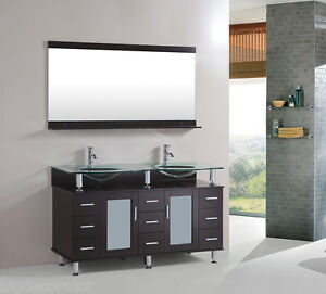60 inch double tempered glass sink bathroom vanity cabinet espresso