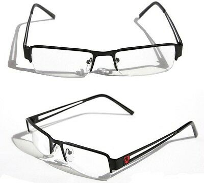 Men Khan Rectangular Half Rimless Metal Reader Reading Glasses Sophisticate look