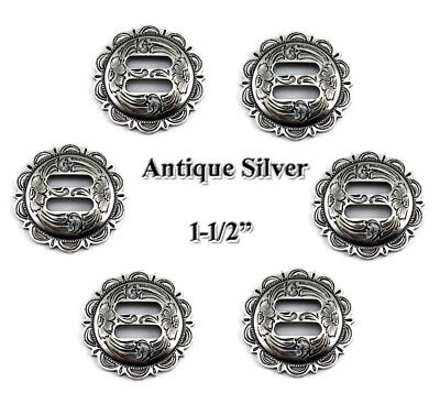 LOT OF 6 CONCHOS ANTIQUE SILVER SLOTTED SCALLOPED WESTERN RODEO FA 4834 1-1/2 ""