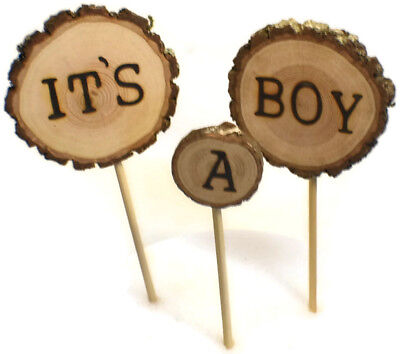 It's a Boy Cake topper Wood Rustic  Forest Woodland baby shower     - Rustic Baby Shower