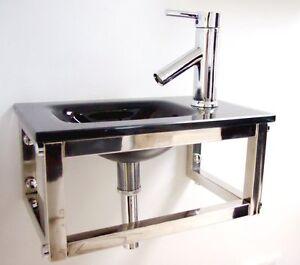 Cloakroom-Sink-Square-Glass-Wash-Basin-Small-Compact-Mini-Black-Wall ...