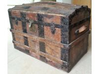 Victorian/Edwardian dome-topped travelling trunk.