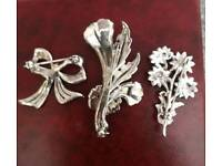 3 x vintage marcasite brooches