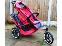 Phil and Teds Double Sport Buggy Red: suitable from birth to 4 years, can be single or double.