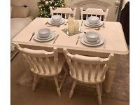 Shabby Chic :: farmhouse style dinging table :: chunky wood