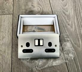 8 brand new boxed 13a 2 gang brushed chrome electric sockets