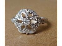 Art Deco Design Diamond White Gold Ring Size J very unusual floral design