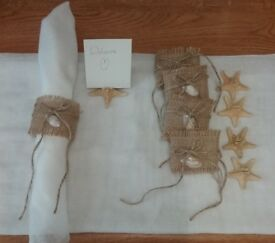 Beach themed napkin rings and place card holders