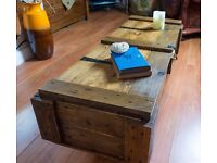 Vintage industrial style WW2 ammo chest trunk coffee table