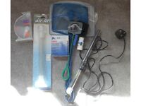 collection of aquarium goods, heater, fish food, nets,hydrometer, air lift, SK11