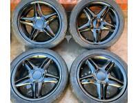 Seat Leon Cupra 17 inch Black Alloy Wheels 5 x 100 MK1 Genuine FR 225/45 r17 7J ET38 Golf MK4