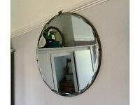 VINTAGE LARGE CIRCULAR WALL MIRROR, 1950s BEVELLED, THICK CHAIN, ANTIQUE