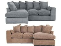 EXPRESS DELIVERY ALL UK | DYLAN JUMBO GREY CORNER OR 3+2 SEATER SOFA | 1 YEAR WARRANTY