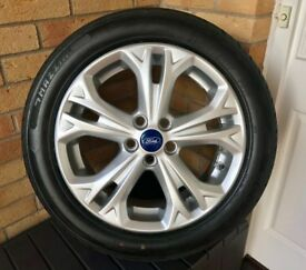 "Genuine Ford S-Max Galaxy 17"" Inch Alloy Wheel Double Spoke Silver PLUS BRAND NEW TYRE"