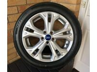 """Genuine Ford S-Max Galaxy 17"""" Inch Alloy Wheel Double Spoke Silver PLUS BRAND NEW TYRE"""