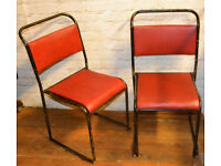 6 available red stacking vintage chairs antique dining kitchen industrial restaurant retro seating