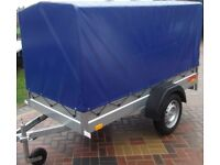 Heavy duty Box Trailer With full canopy Blue 8FT x 4FT wide 2,50 x 1,12 mx 4ft high VGC