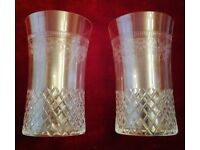 Vintage/Antique Glasses:A Pair of Engraved Cut Glassware Clear (Lightweight) Collectors Tiny Restore