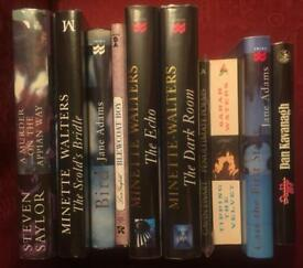 Job lot of 10 first edition signed fiction books in fine condition. Steven Saylor, Minette Walters