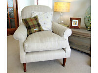 Laura Ashley Cambridge Chair in Linen Stripe Fabric (Natural) with Wooden Legs
