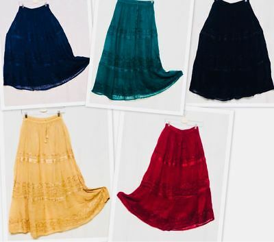 All Skirts : Clothing Women (Indian Teen Women Long Plain Georgette Embroidered Lace Skirt One size fits)