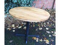 "Solid Oak Top Dining Table, 36"" Diameter."