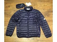 Moncler Mens Ultra Light Down Jacket - Blue - Medium.