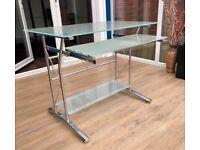 Opaque Glass & Chrome Computer Desk